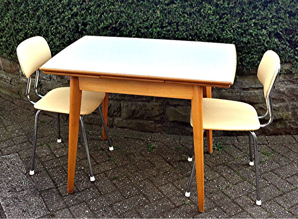 Vintage kitchen table from wood with formica tabletop by for Formica table