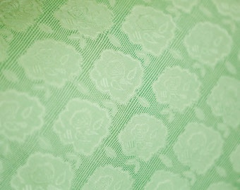 Lime green flower eyelet fabric vintage clothing apparel light weight fabric