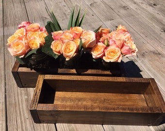 Wood box centerpiece, Wood box flower and candle holder, Rustic wood box, Table centerpiece, Wedding centerpiece