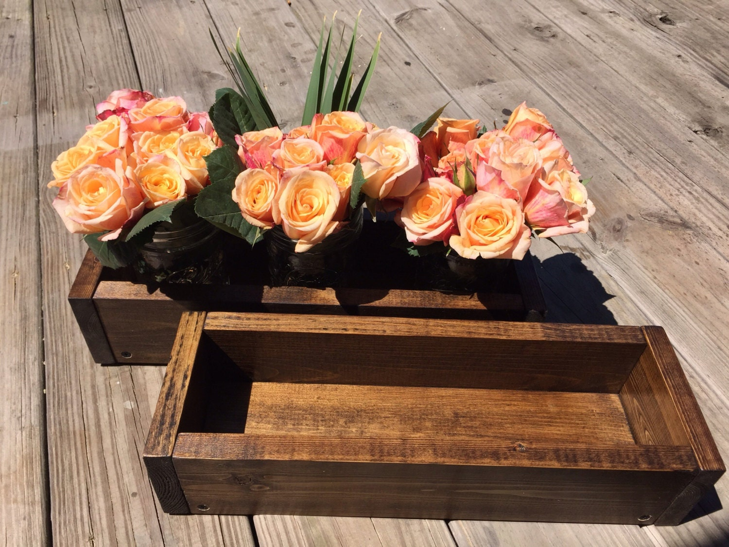 Wood box centerpiece flower and candle holder