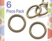 "3/4 Inch Antique Brass / Bronze O Rings, Purse Handbag Bag Making Hardware Supplies,.75 Inch, 3/4"", .75"", 6 Piece Package"