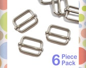 "3/4 Inch Moving Bar Slide, Nickel Finish, 6 Pack, Movable Bar, Purse Handbag Bag Making Hardware Supplies, .75 Inch, 3/4"", .75"""