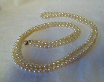 Fantastic 1950's Faux Pearl Necklace Extra Long 54""