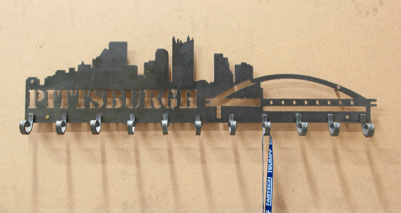 Pittsburgh Skyline Medal Holder Perfect Home Decor Rack Handmade Steel Art Work