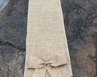 """Burlap,Burlap bows Table Runner for your options: 12""""x59"""" / 12""""x72"""" / 12""""x90"""""""