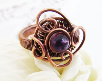 Purple Amethyst Wire-wrapped Copper Ring - Gothic Gemstone Ring - UK Size T