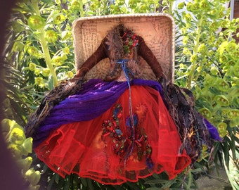Art dress assemblage of Chocolate,by Joanne Harris. The river gypsies.