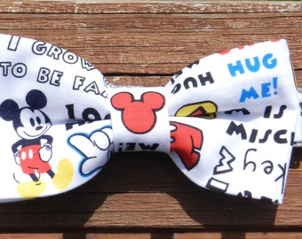 Mickey Mouse Bow tie, velcro strap for your little gent or adjustable neck strap. Mickey Mouse Universal hair bow. Disney Bow Tie