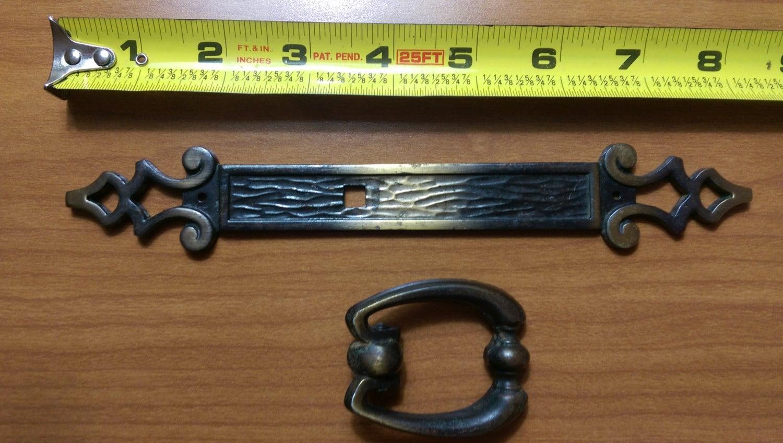 set of 10 vintage antique brass finish drawer pull hardware
