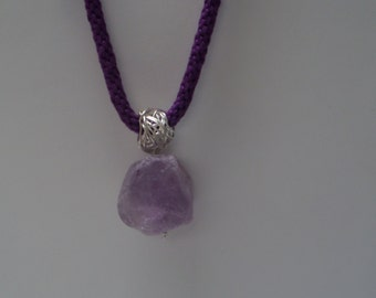 Sterling Silver Necklace with Rustic Amethyst Pendant and Violet Kumihimo Cord