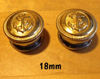 16mm-18mm-20mm golden anchor plugs for stretched ears *vintage*