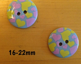 16mm-18mm-20mm-22mm blue buttons with pink and yellow heart detail plugs for stretched ears