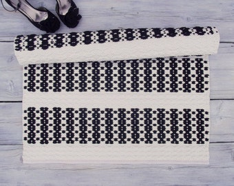 Black and White Cotton Rug, Contemporary Rag Rug, Small Rug, Handmade, Soft and Thick, Reversible, Woven on the Loom, Made to Order