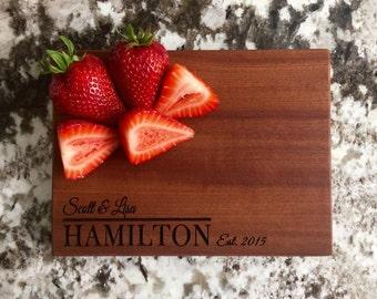 Personalized Cutting Board 6x8 Mahogany - Hamilton Style