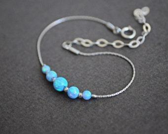 Opal bracelet. Sterling silver bracelet. Fire opal bracelet. Dainty bracelet. Dainty silver bracelet. Opal ball. Valentines Day gift for her