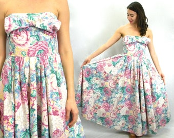 80s Floral Party Dress | Pastel Strapless Prom Dress | Laura Ashley | Made in Great Britain | Small
