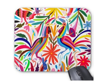 Otomi Print Mouse Pad, Colorful Multicolored Animals & Flowers Mousepad