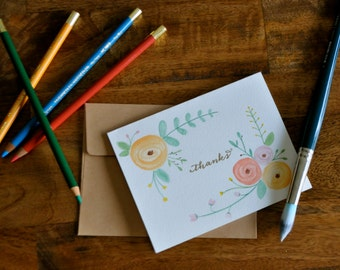 "Set of Four ""Thanks"" Watercolor Cards"