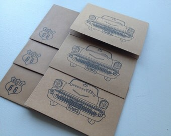 Classic car thank you card set of 3, 1957 chevy card set, Masculine thank you card set