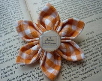 "Kanzashi brooch flower fabric  , center a cabochon ""Thank you Mistress "" - Mistress Gift"