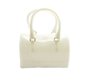 LaMania Jelly Candy Doctor's Style Gel Tote Handbag Purse Shoulder Bag White SMALL