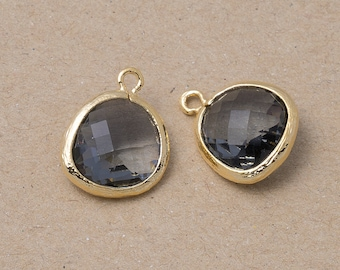 10% OFF For -10 Pieces- Charcoal Glass Pendant, Jewelry Supplies, Polished Gold Plated over Brass - 10 Pieces-[BGP0025]-CHARCOAL/PG