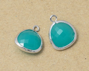 Mint Glass Pendant, Jewelry Supplies, Polished Rhodium Plated over Brass - 2 Pieces-[BGP0025]-MINT/PR