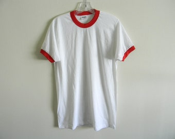 80's Stedman blank thin ringer t-shirt | Made in USA | Large | DEADSTOCK