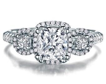 Cushion Cut Halo Diamond Engagement Ring 14k White Gold or Yellow Gold Art Deco Natural Diamond Ring