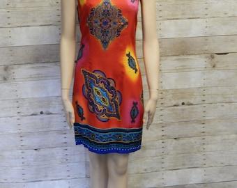 80's Red/Orange Paisley Print Summer Dress