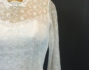 1950's Delicate White Lace Wedding Gown.