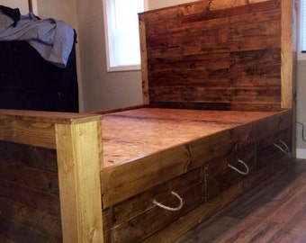 Pallet wood bed frame with drawers