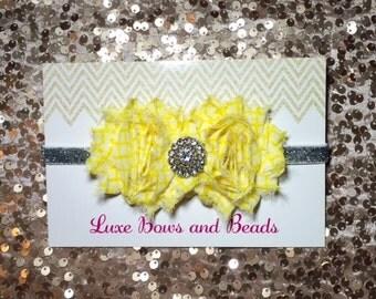 Yellow headband, yellow silver headband, rhinestone center stone on silver glitter elastic!