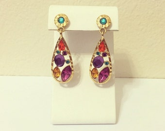Vtg Costume Jewelry Multi Color Dangle Earrings