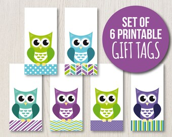 Printable Gift Tags | Owl Hang Tags | Owl Gift Tags | Owl Party | Gift Wrapping | Instant Download | Turquoise Lime Purple | Present Labels
