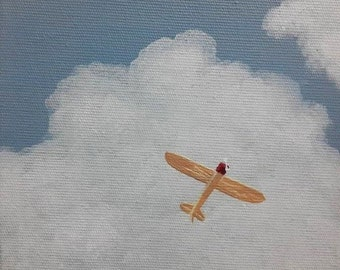 Clouds Airplane Acrylic Painting, Propeller Plane Painting, 6x6 Inches Painting, Small Painting, Tiny Canvas Painting, Tiny Art