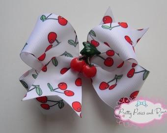 Cherry Hair Bow, Cherry Bow, Cherries, 4 inch Hair Bow, Red Hair Bow, Girl Gift