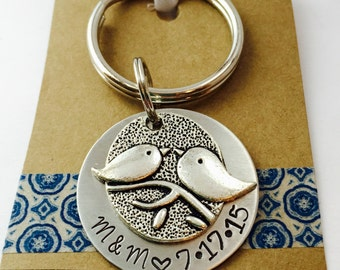 Couples Key Chain Hand Stamped Love Birds Key Chain