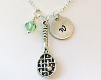 Sale - Tennis Necklace - Tennis Racket Jewelry - Play Tennis - Coach Gift - Tennis Player Gift- Tennis Charm Necklace