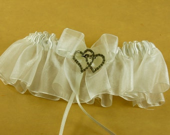 Elegant IVORY Satin & Organza with Double HEARTS RHINESTONE keepsake Garter