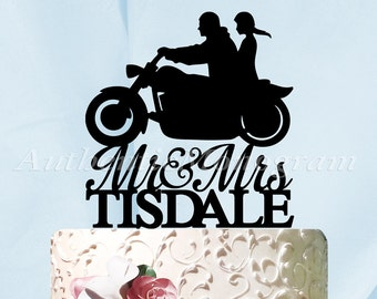 Mr & Mrs Wedding Cake Topper, a Husband and Wife Harley Silhouette, Wedding decor, Painted,  Unpainted, Custom Last Name, Special Occasion