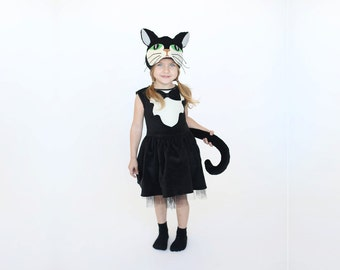 Halloween black cat costume, kids Halloween costume, Girls Halloween,  girl costume, kitty costume, Halloween, toddler costume