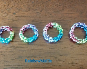 Rainbow Pride Rings Japanese Lace 12-in-2 pattern Rainbow chainmaille Rings by RainbowMaille