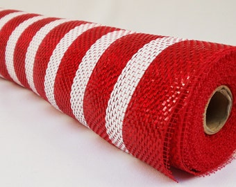 21 inch Red White Wide Foil Deco Mesh, Red White Stripe Metallic Deco Mesh, Red White Deco Poly Mesh - (10 Yards)