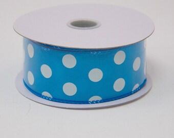 "1.5 "" Turquoise Polka Dot Satin Ribbon, Turquoise Polka Dot Ribbon, wired - (10 Yards) - TR3609-29"