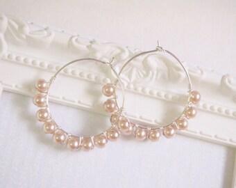 Silver Hoop Pearl Earring