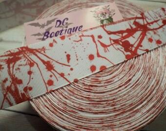 """Blood Splatter Grosgrain Ribbon 1.5"""""""