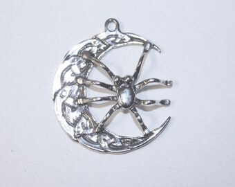 CELTIC MOON SPIDER Tribal Pendant Sterling Silver Jewelry  Celt156