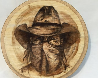 Painting on wood// rustic art// cowboy// bandit