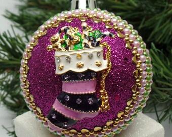 Striped Stocking on Purple Christmas Ornament